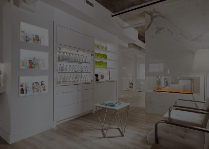 Salle d'attente de la Clinique Chloé médico-esthétique de Montréal