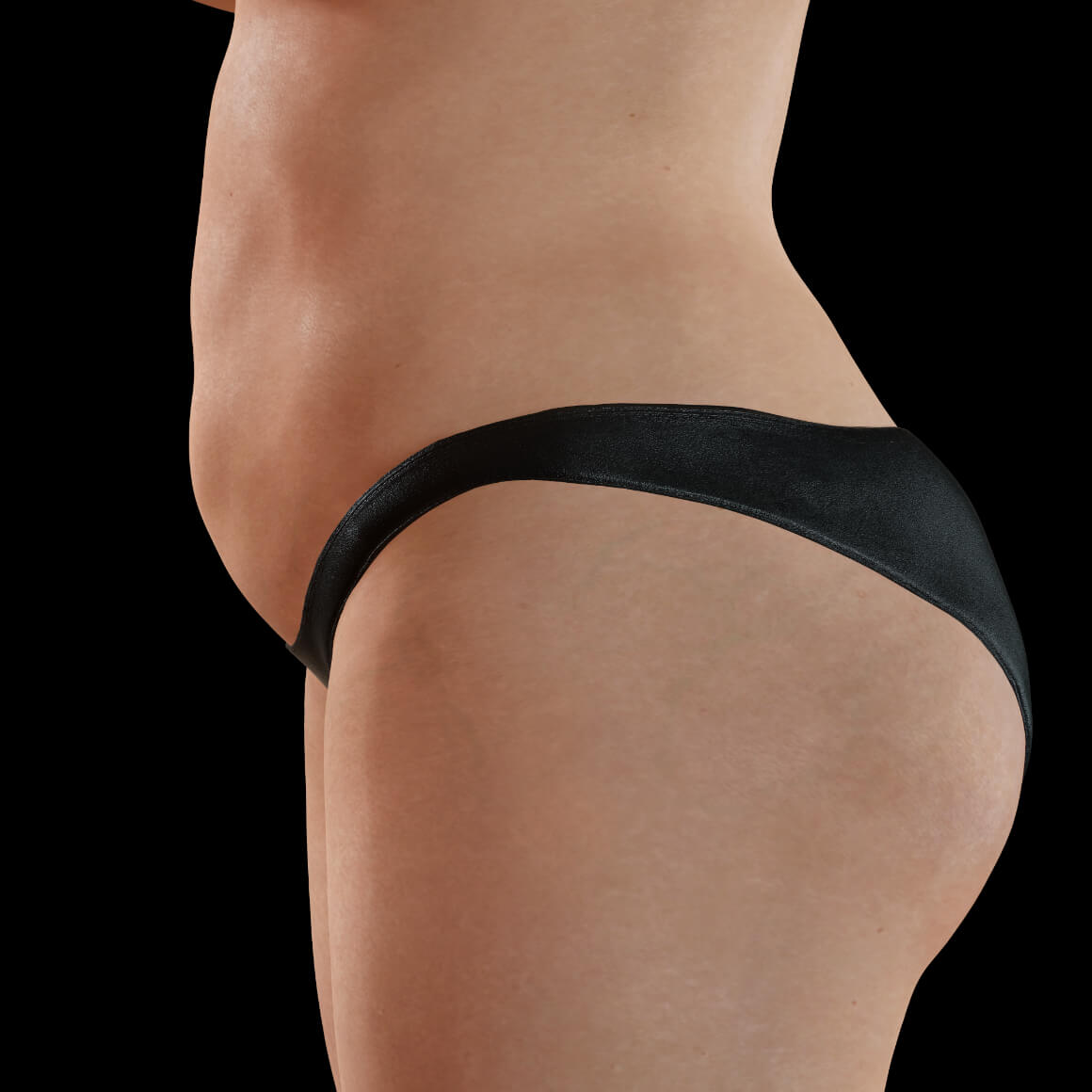 A female patient from Clinique Chloé positioned sideways with localized fat deposits on the body