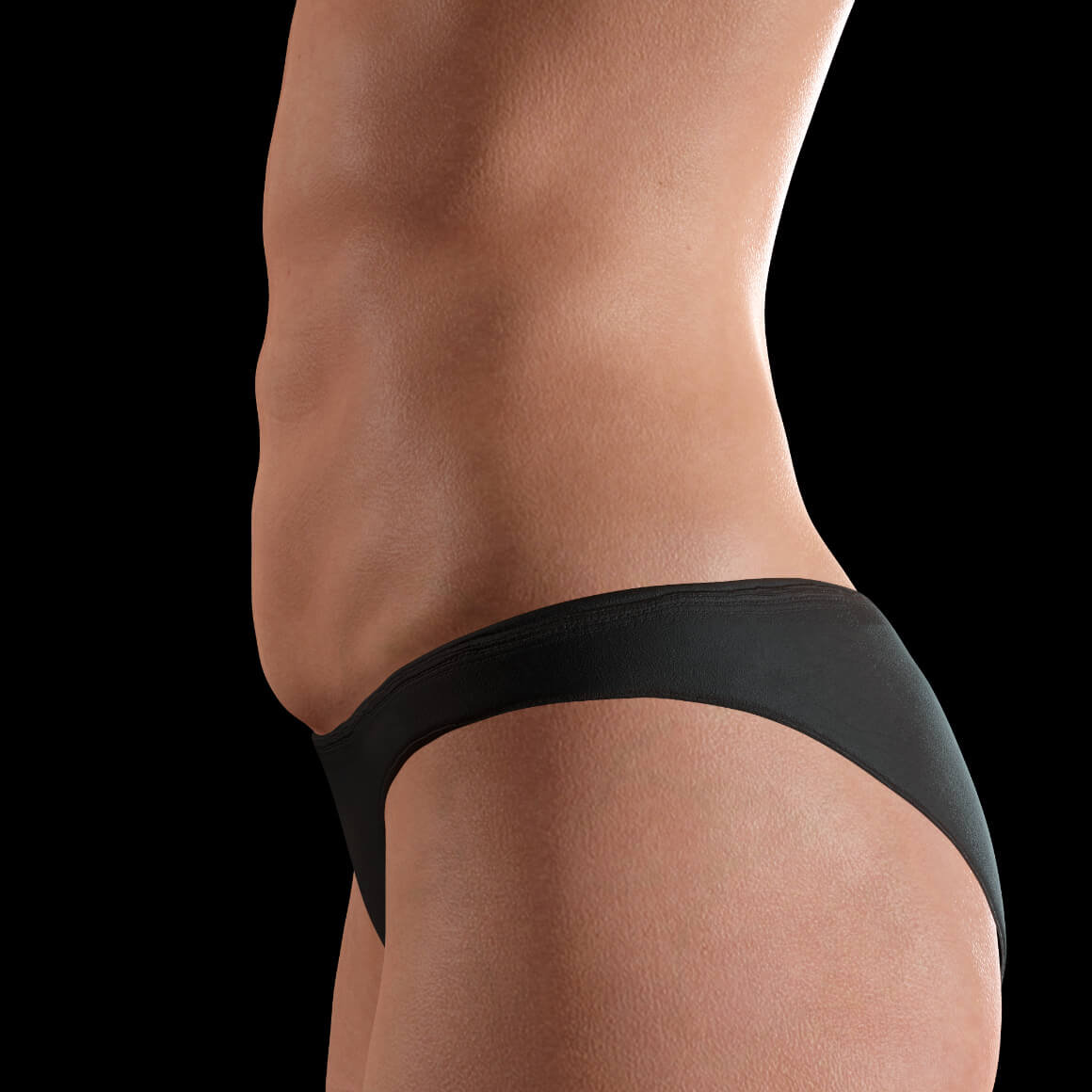 Female patient at Clinique Chloé positioned sideways after Tight Sculpting laser treatments for body skin tightening