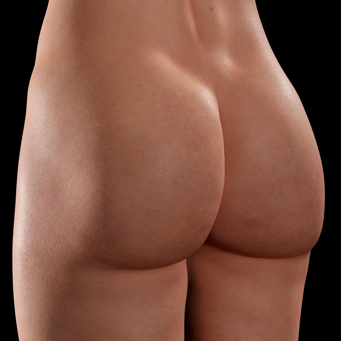 Fesses d'une patiente de la Clinique Chloé vue en angle après des traitements Venus Legacy contre la cellulite